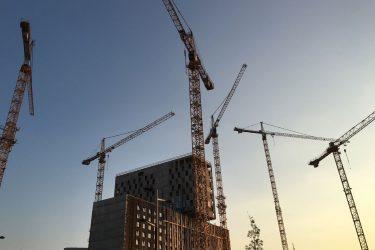 Morgenstimmung der QBC Baustelle am Wiener Hauptbahnhof