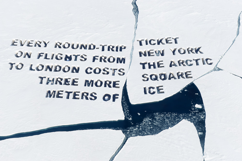 Oliver Ressler, Every round-trip ticket on flights from New York to London costs the Arctic three more square meters of ice, 2019 Courtesy the artist, àngels Barcelona, The Gallery Apart, Rome. Foto: Oliver Ressler